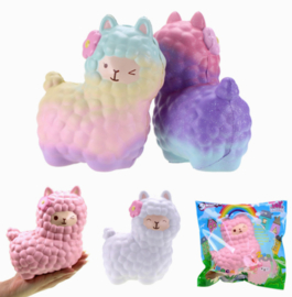 Squishy 15cm Alpaca - Pink/Blue/White