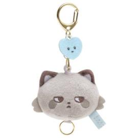 Mini Sleutelhanger Plushie San -X Kokoro Araiguma - Hokkori Ouchi - grijs