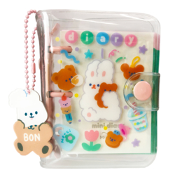 Kawaii mini Daily Planner - Pink Bunny & Bear