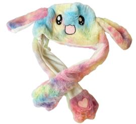 Kawaii muts met bewegende oren - Rainbow fel