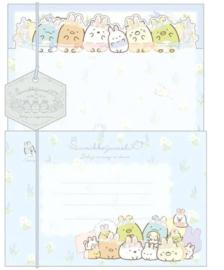 Briefpapierset San-X Sumikkogurashi - Fushigina Usagi No Oniwa Blue