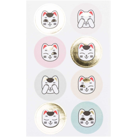 Stickers Lucky Cat Round