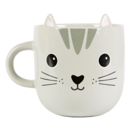 Kawaii Cat Mug Grey