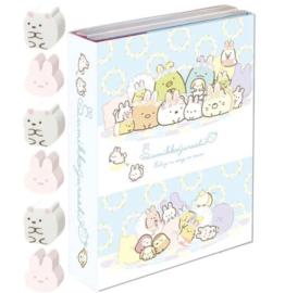 Memoboekje + gum Sumikkogurashi Fushigina Usagi No Oniwa - Happy family