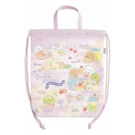Sumikkogurashi Drawstring bag - Happy For School - Pink