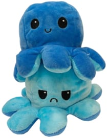 Kawaii Octopus plushie reversible - light blue / dark blue - happy / sad