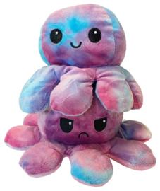 Kawaii Octopus plushie reversible - Tie-Dye Galaxy - happy / sad