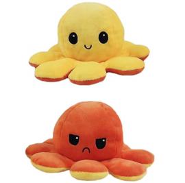 Kawaii Octopus plushie reversible - orange / yellow - happy / sad