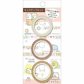 3 pcs narrow San-X Washi tape - Sumikko Gurashi - Pink