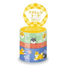 Washi tape 3x - shiba dog pattern