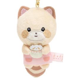 Mini Sleutelhanger Plushie San-X  Kokoro Araiguma - Hokkori Ouchi - beige