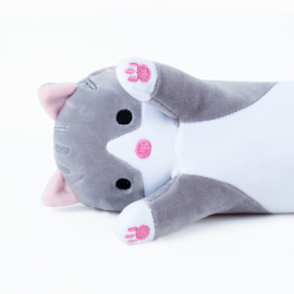 Long Kawaii Cat Plush - GREY - 50 cm