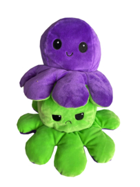 Kawaii Octopus plushie reversible - Purple/green2 - happy / sad