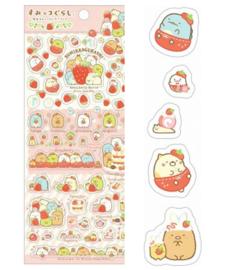 Stickersheet San-X Sumikkogurashi Strawberry Rosa