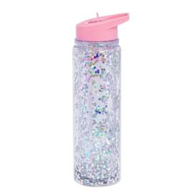 Drinkfles met rietje Pink Silver Glitter