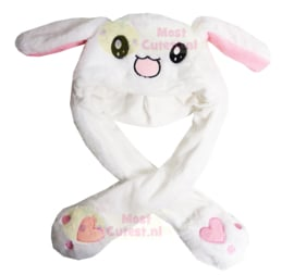 Kawaii Moving Ears Hat - White happy