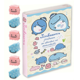 Memoboekje + gum groot Jinbesan Sea Life Geel