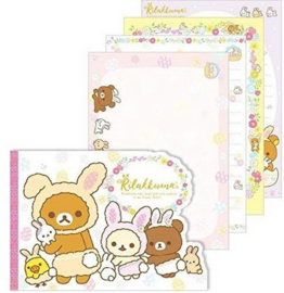 Notizblock Rilakkuma Cute Rabbits in Flower Forest