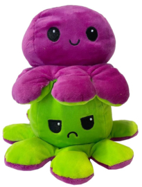 Kawaii Octopus plushie reversible - Purple/green - happy / sad