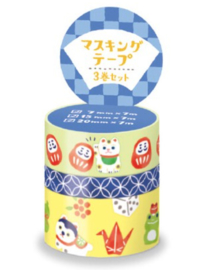 Washi tape set 3x - Daruma & Lucky Cat