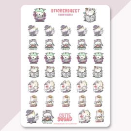 Stickersheet - Book Lover Unikitties - CutieSquad