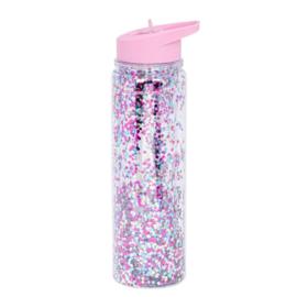 Drinkfles met rietje Multicolor Glitter