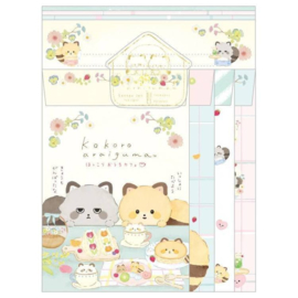 Briefpapierset San-X Kokoro Araiguma - Hokkori Ouchi - Cafe