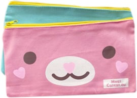 Kawaii Canvas Pencil Pouch / Kulturbeutel - Rosa Türkis