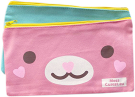 Kawaii Canvas Pencil Pouch / Toiletry Bag - Pink Turquoise