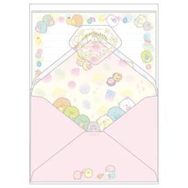 Letterpaper set Sumikkogurashi Mogura No Ouchi pink