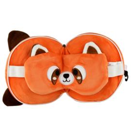 Releaxeazz Plushie Rode Panda reiskussen met slaapmasker