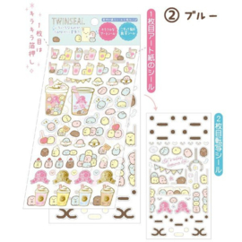 Stickervel San-X Sumikkogurashi Bubble Tea - 2 sheets - blauw