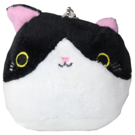 Plushie Kawaii cat - wit/zwart