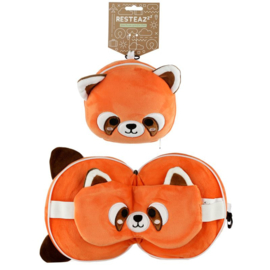 Releaxeazz Reisekissen mit Augenmaske Panda Rot