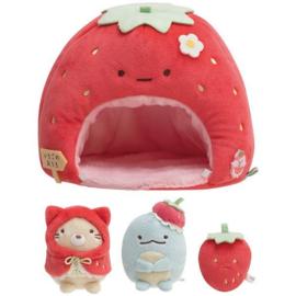 San-X Sumikkogurashi - Sumikko Strawberry House  plush + mini plushies
