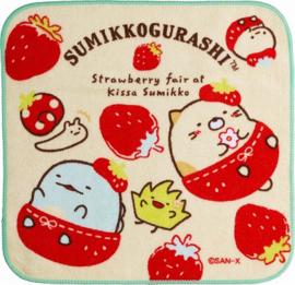Mini Handtuch 21 x 21 cm Sumikkogurashi Erdbeere