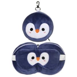 Releaxeazz Plushie Pinguin travel pillow with sleepingmask