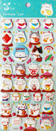 Stickervel puffy Lucky Cats