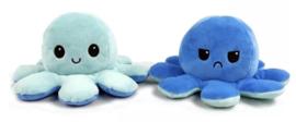 Kawaii Octopus plushie reversible - light blue / dark blue - happy / sad