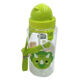 Drinking bottle with straw- Dinosaur