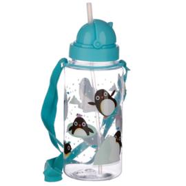 Drinkfles met rietje - Pinguïns