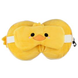 Releaxeazz Plushie Duck reiskussen met slaapmasker
