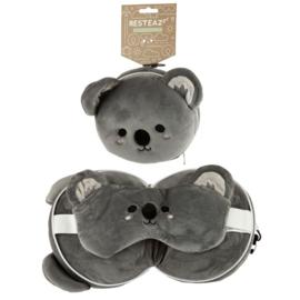 Releaxeazz Round Travel Pillow & Eye Mask Koala
