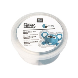 Fluffy klei - grijsblauw mix - air dry