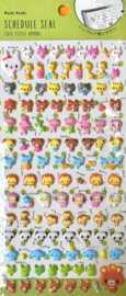 Stickersheet puffy Green animal friends