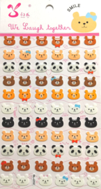 Stickersheet PVC Bear & Panda