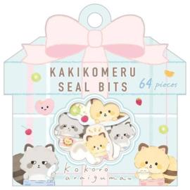 Stickerbag San-X-Kokoro Araiguma - kakikomeru Seal Bits