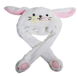 Kawaii Moving Ears Hat - White dog