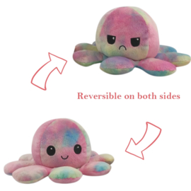 Kawaii Octopus plushie reversible - rainbow - happy / sad