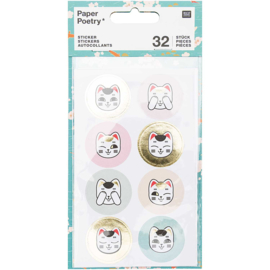 Stickers Lucky Cat Rond